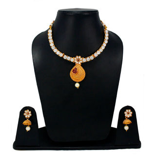 Elegant Look Necklace Set Adorned With Red Stones