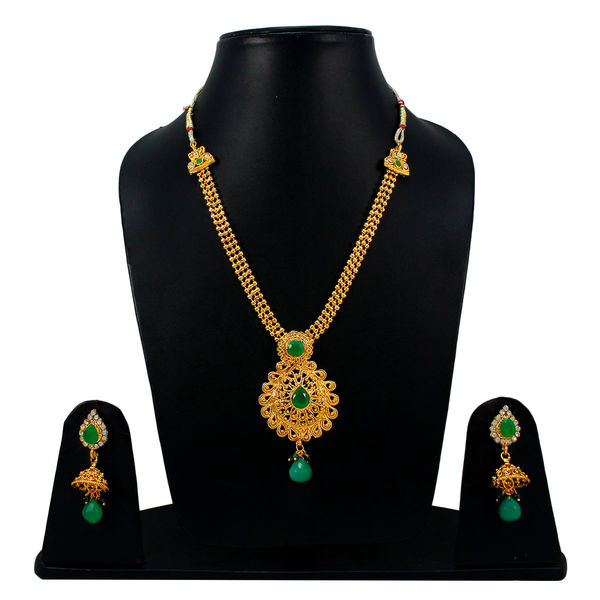 Green And Golden Necklace Set With Jhumki Earrings