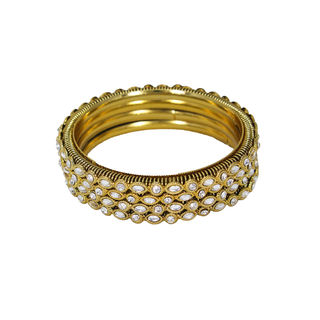 Gold Tone 4PCS Bangle Set Adorned With Kundan, 2-8