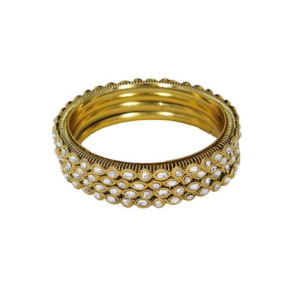 Gold Tone 4PCS Bangle Set Adorned With Kundan, 2-6
