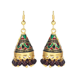 Gold Tone Multi-Color Ethnic Jhumki