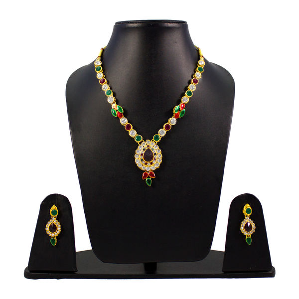 Red And Green Stone Necklace Set For Women
