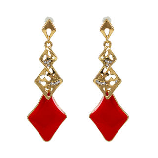 Golden And Red Long Drop Alloy Earrings