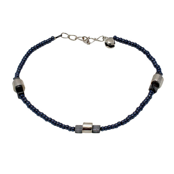 Grey Color Metallic Beads Adorned Anklet For Women