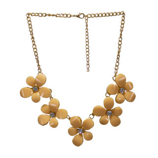 Beige Stones Floral Design Statement Neck-Piece