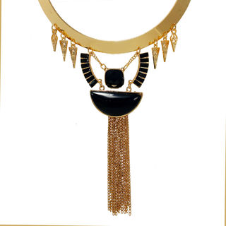 Stylish Black And Golden Tribal Necklace For Women