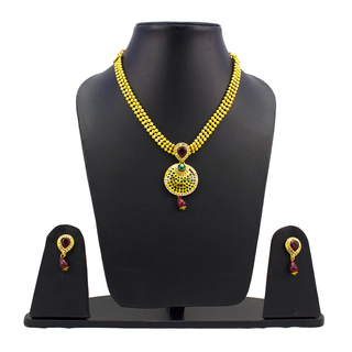 Thushi Style Necklace Set With Broad Chain For Women