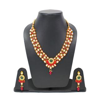Red Green Leaf Design Traditional Necklace Set