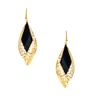 Classic Golden And Black Fashion Dangler In Leaf Design