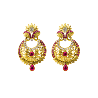 Golden Ethnic Danglers Studded With Pink And White Stones
