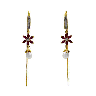 American Diamond Pink Floral Earring With Dangling Chain And Pearl
