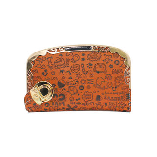 Brown Wallet With Engraved Clip Art For Women