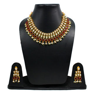 Mini Bridal Necklace Adorned With Kundan And Red Stones