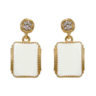 Trendy Gold Tone White Danglers For Women