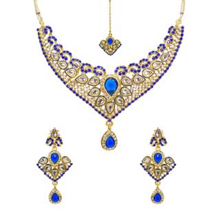 Royal Blue Kundan Necklace Set With Mang Tika