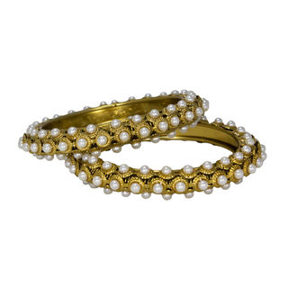 Beautiful Pair Of Bangles In Golden Studded With Pearls, 2-8
