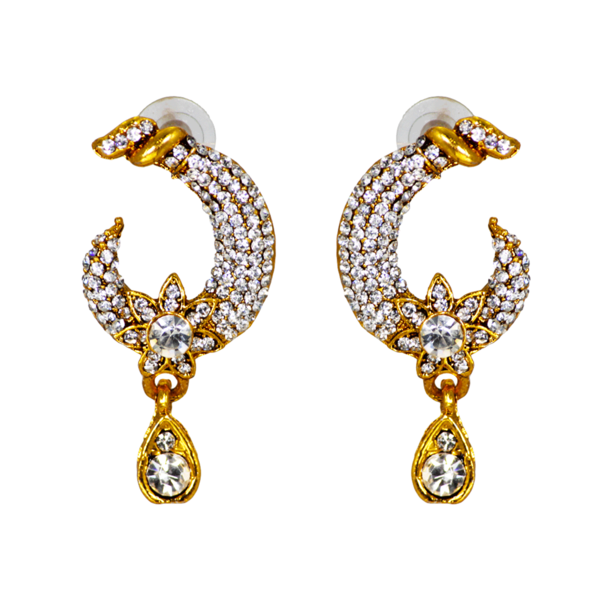 Gold Plated Ethnic Dangler Studded With White CZ