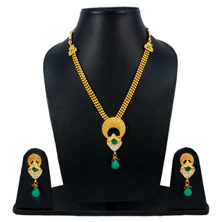 Traditional Green And Golden Necklace Set With Dangling Pearl