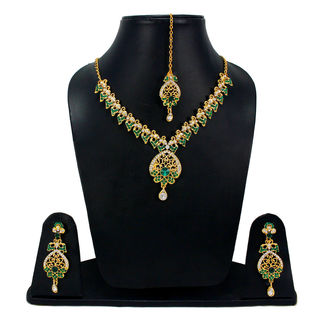Designer Green Stone And CZ Adorned Necklace Set For Women