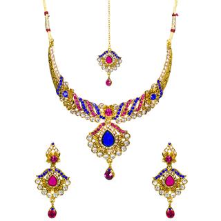 Women Pink Green Kundan Necklace Set With Maang Tika
