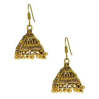 Oxidized Metal Golden Ethnic Jhumki Earrings For Women