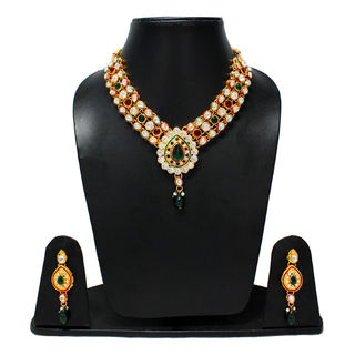 Ethnic Necklace For Women In Red And Green Stones