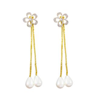 American Diamond Long Drop Ethnic Earrings
