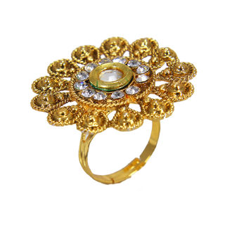 Flower Shape Ring Adorned With Kundan For Women, adjustable