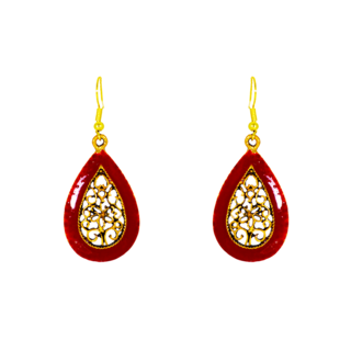 Trendy Golden Maroon Ethnic Dangler For Women