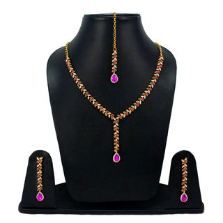 Pink Stone Stylish Necklace With CZ Stones