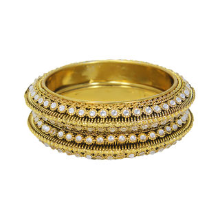 CZ Stone Studded Pair Of Gold Tone Bangles, 2-6