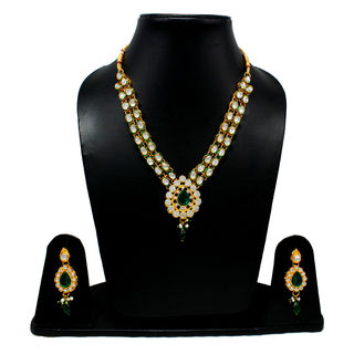 Ethnic Necklace Set Adorned With Green And White Stones