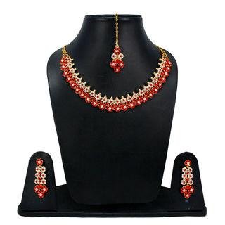 Red Stones Adorned Floral Sleek Necklace For Women