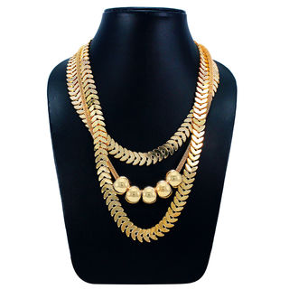 Designer Multi Layer Fashion Necklace In Gold Tone