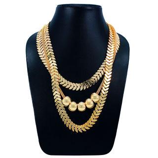 Designer Multi Layer Fashion Necklace In Gold Tone