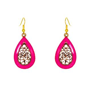 Water Drop Shape Pink Dangler Earring For Women