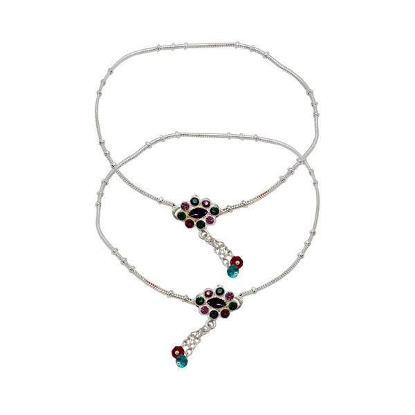 Multi-Color Flower Design Silver Payal For Women