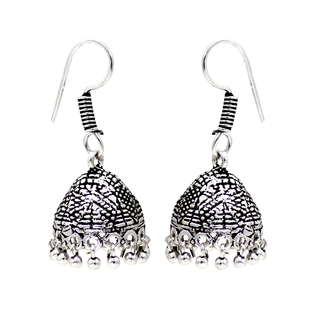 Ethnic Silver Oxidised Metallic Jhumki For Girls