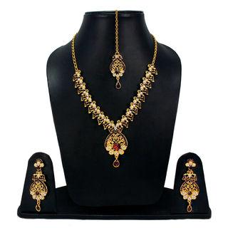 Designer Purple Stone And CZ Adorned Necklace Set For Women