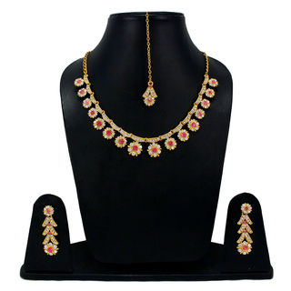 CZ And Pink Stones Adorned Sleek Necklace Set