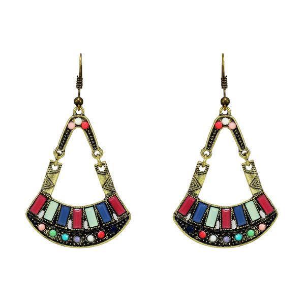 Oxidised Silver Multi-Color Beads Earrings For Women