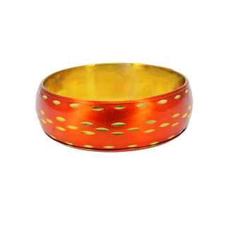 Round Bracelet Bangle In Red And Golden For Women, 2-6