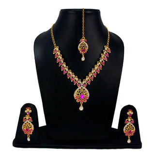 Designer Pink Stone And CZ Adorned Necklace Set For Women