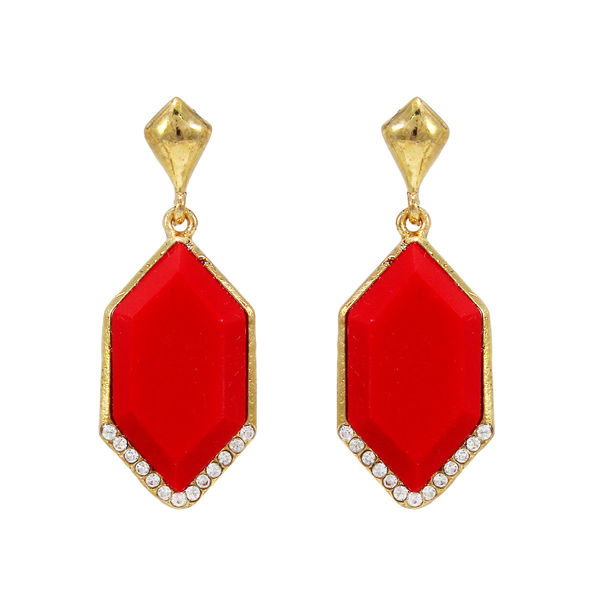 Red Stone Adorned Gold Tone Earrings