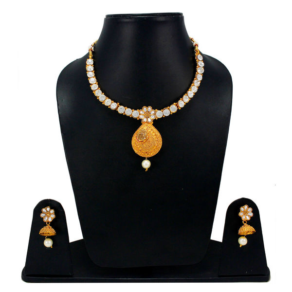 Elegant Look Necklace Set Adorned With White Stones