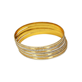 Light Weight 4PCS Gold Tone Bangles Set, 2-6