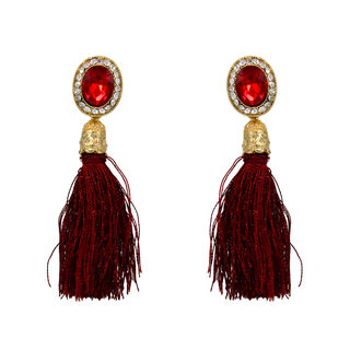 Red Stone Adorned Earrings With Dangling Threads