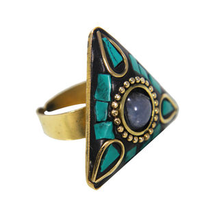 Green Stone Adorned Fashion Ring For Girls, adjustable