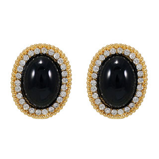 Gold Tone Studs Embellished With Black Stones