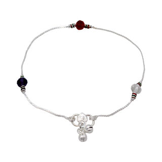 White-Red And Blue Beads Studded Silver Payal